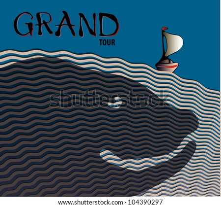 Seascape. Sailing boat on the waves and the shadow of the big fish under the water / Grand tuor