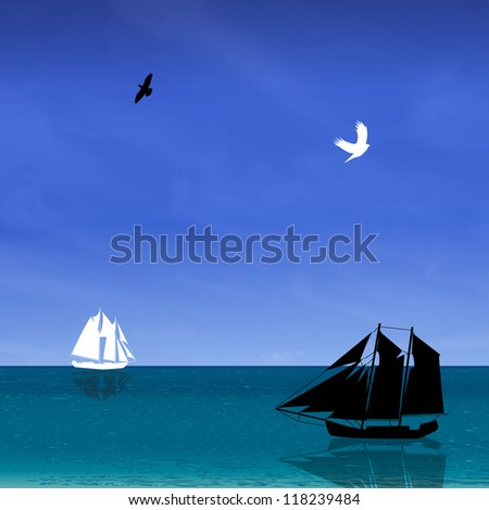 Seascape with black and white ship, bird, blue sky. Vector illustration. - stock vector