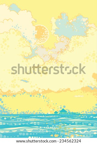 Seascape with clouds, sunny day. Vector - stock vector