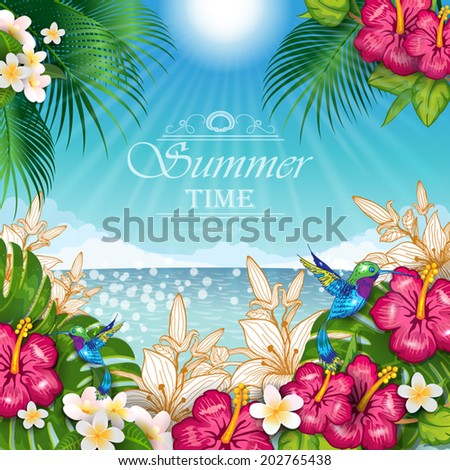 Seascape with palm trees frame of tropical flowers and hummingbirds- editable-transparency blending effects and gradient mesh-EPS 10. - stock vector