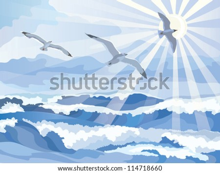 Seascape with seagull soaring in the sky, vector illustration - stock vector