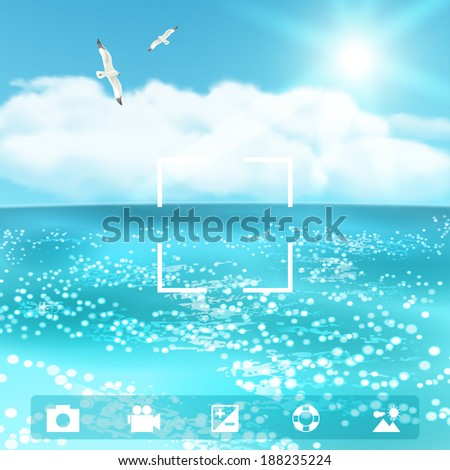 Seascape with Seagulls. Vector illustration, eps10. - stock vector