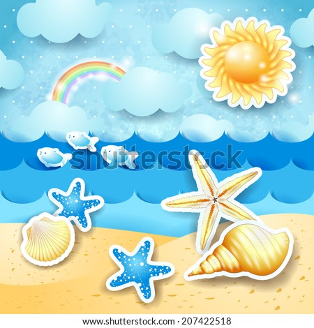 Seascape with sun and seashells, vector eps 10 - stock vector