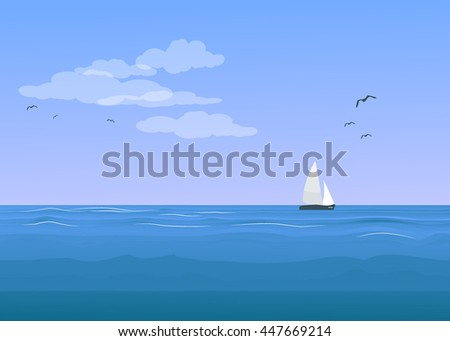 Seascape with the ship.Vector  illustration.
