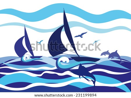 Seascape with two sailboats, dolphins, sailfish and sea birds. - stock vector