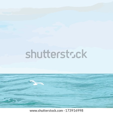 Seascape with wavy sea surface,cloudy sky, flying seagull - stock vector