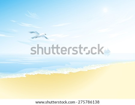 Seascape with wavy sea surface, cloudy sky, flying seagull. Tropical landscape - stock vector