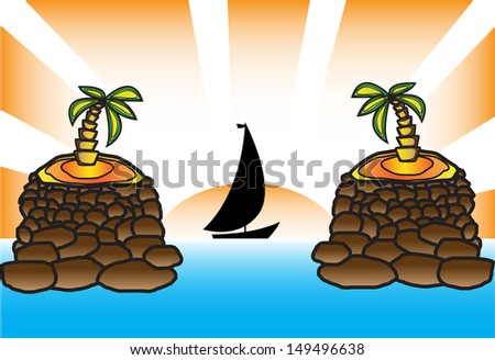 seascape yacht against the sun and palm trees - stock vector