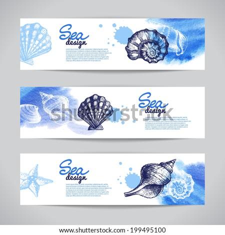 Seashell banners. Sea nautical design. Hand drawn sketch and watercolor vector illustration - stock vector