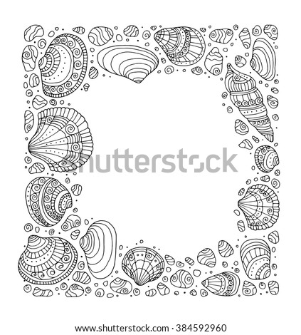 Seashell border frame, ocean pattern. Vector vintage illustration. Zentangle. Coloring book page for adult. Hand drawn artwork. Beach concept for restaurant menu card, ticket, branding, logo label - stock vector