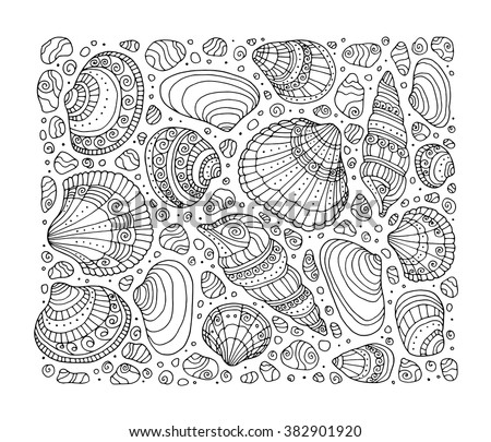 Seashell pattern art background. Vector illustration. Zentangle. Coloring book page for adult. Hand drawn artwork. Beach concept for restaurant menu card, ticket, branding, logo label. Black, white - stock vector