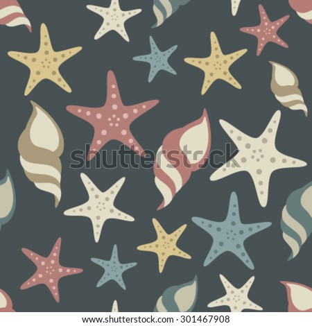 seashells and starfish on dark blue seamless pattern