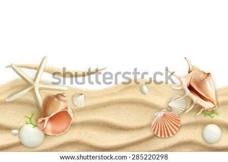 Seashells on sand, vector background - stock vector