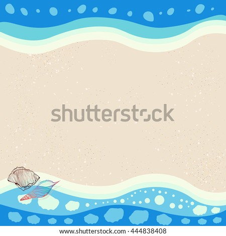 Seashells on waves background illustration