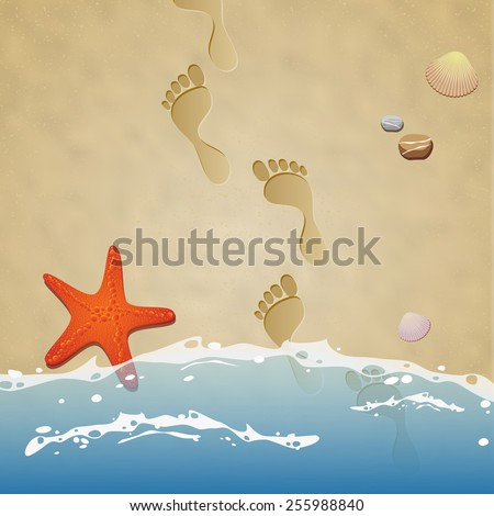 Seashore with footprints in the sand, water, stones, starfish and seashells - vector illustration - stock vector