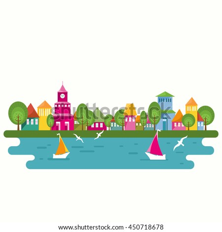 Seaside scene of harbor with yachts and seagulls. Cartoon illustration of small port town. Colorful houses on the waterfront. Flat design. Vector illustration. - stock vector