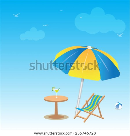 Seaside view with an umbrella, beach chair and cool drink, table. Summer vacation concept background - stock vector