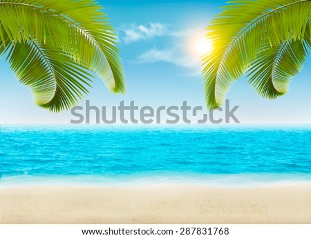 Seaside with palms and a beach. Vector. - stock vector