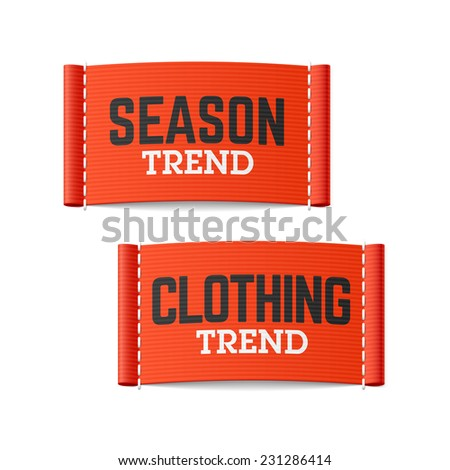 Season and clothing trend labels. Vector. - stock vector