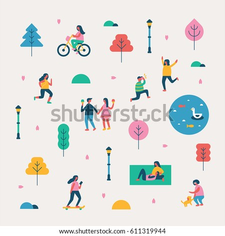 season background people character vector illustration flat design