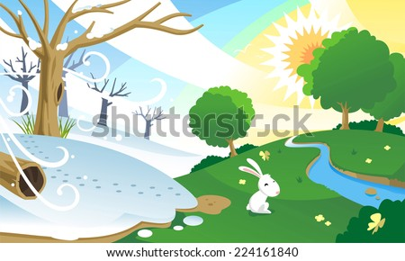 Season change, from winter to spring. With happy bunny in a green sunny field. Vector illustration cartoon.