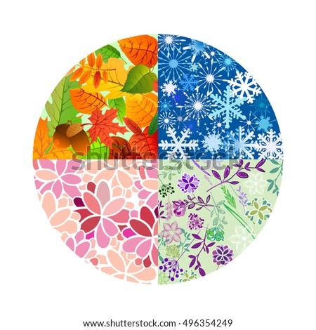 Season icons four seasons year vector stock vector for 4 seasons decoration