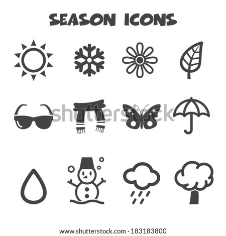 season icons, mono vector symbols - stock vector