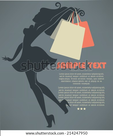 season of shopping, vector commercial background with girl silhouette and shopping bags - stock vector