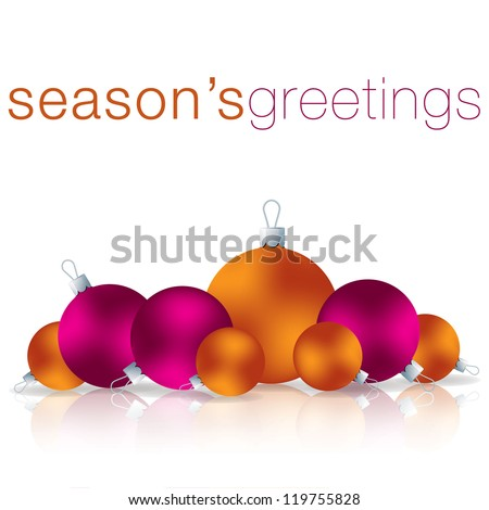 Season's Greetings bauble card in vector format. - stock vector