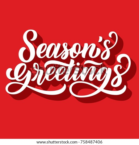 Seasons greetings brush hand lettering 3 d stock vector hd royalty seasons greetings brush hand lettering with 3d shadow on retro red background vector type m4hsunfo