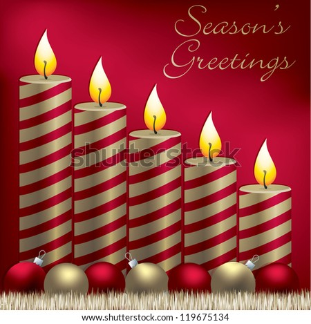 Season's Greetings candle, bauble and tinsel card in vector format. - stock vector