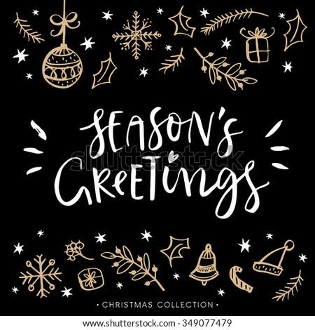 Seasons greetings christmas greeting card calligraphy stock vector seasons greetings christmas greeting card with calligraphy hand drawn design elements handwritten modern m4hsunfo