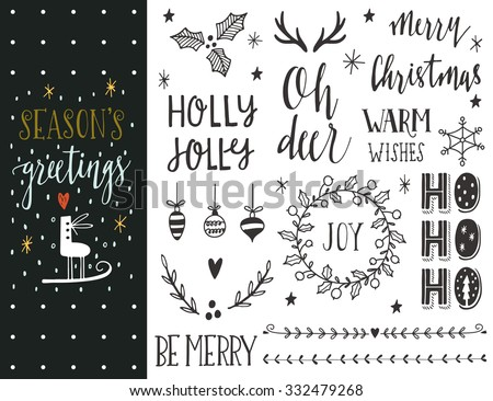 Season's greetings. Hand drawn Christmas holiday collection with lettering and decoration elements for greeting cards, stationary, gift tags, scrapbooking, invitations. - stock vector