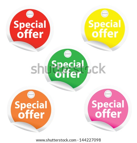 Season Sale Sticker or Label Present By Special Offer on colorful circle Isolated on White Background - stock vector