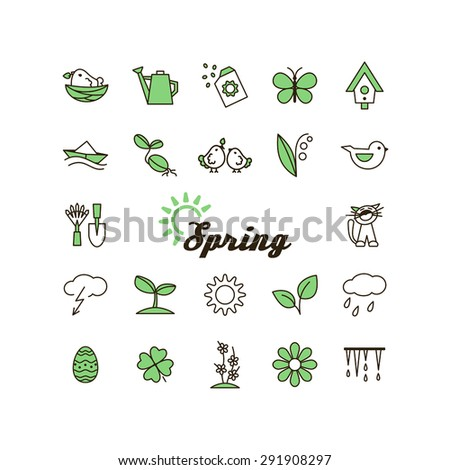 Season - spring. Set of pictures. A vector.