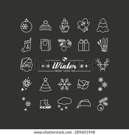 Season - winter. Set of pictures. A vector. - stock vector