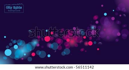 Seasonal background depicting city lights - stock vector