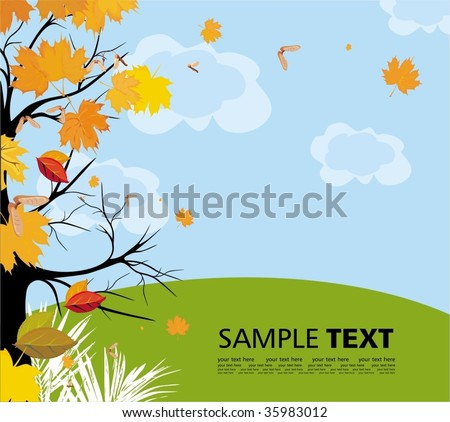 Seasonal background with gold falling leaves - stock vector