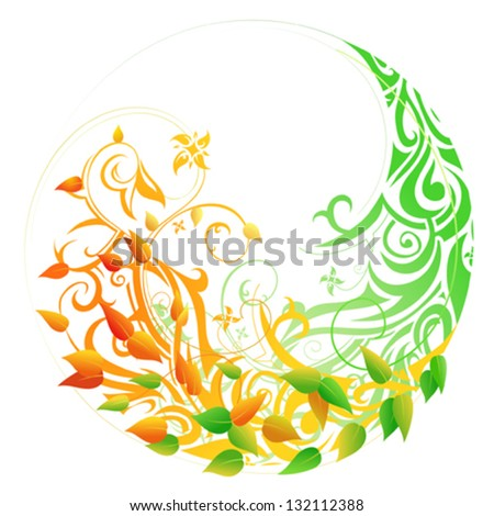 Seasonal cycle from spring into autumn. Timeline concept - stock vector
