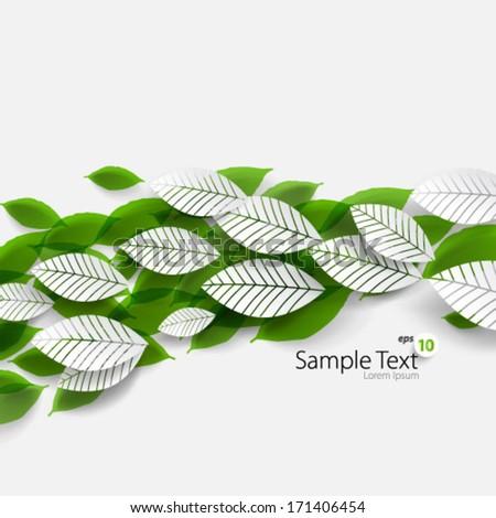 Seasonal Floating Leaves Design Background - stock vector