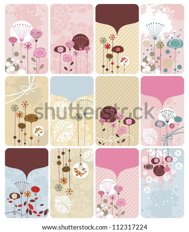 Seasonal gift cards backgrounds set with spaces for text - stock vector