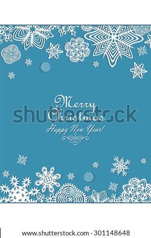 Seasonal greeting vertical banner paper snowflakes - stock vector