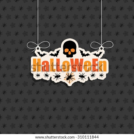seasonal halloween decoration sign on spider pattern background - stock vector