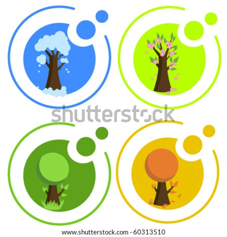 Seasonal icons - stock vector