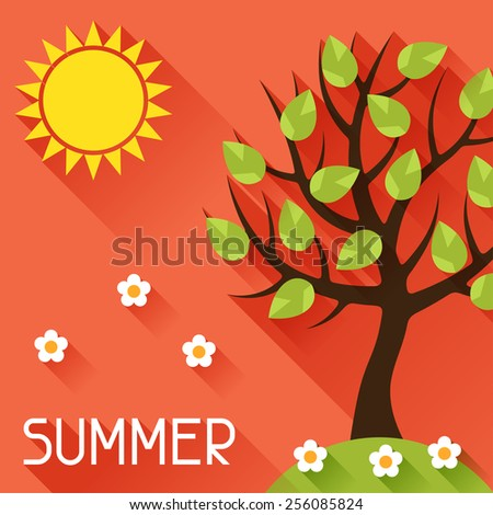 Seasonal illustration with summer tree in flat design style. - stock vector