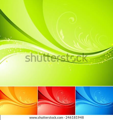 Seasonal  nature abstract background. Eco background. Vector floral pattern. Green, red, orange, blue color. Spring, summer, autumn,  winter seasons - stock vector