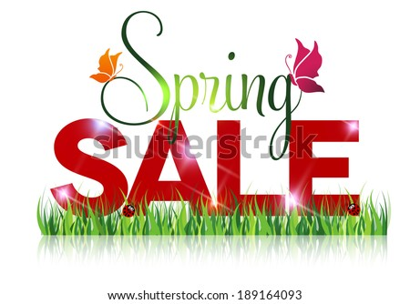 Seasonal sale offer message. Spring sale and grass with beautiful reflection on a white background.