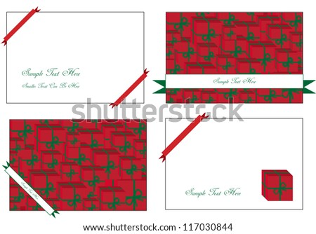 seasonal vector cards with christmas motives and ribbons in red and place for your text isolated on white background