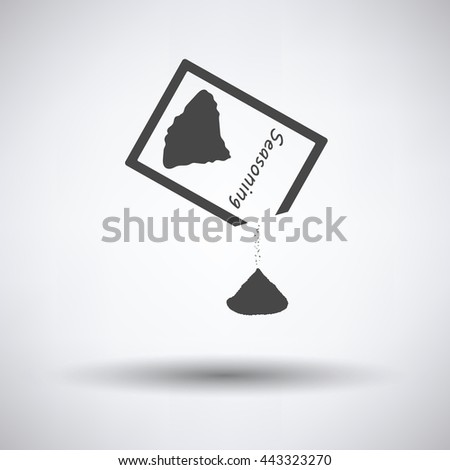 Seasoning package icon on gray background, round shadow. Vector illustration.