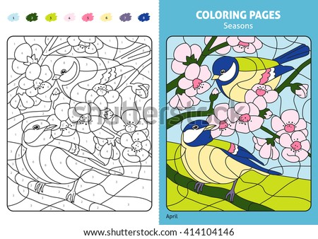 seasons coloring page kids april monthprintable stock vector 414104146 shutterstock